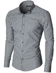 MODERNO Slim Fit Freizeit Kariert Langarm Herrenhemd (MOD1458LS) Dunkelblau / Weiß