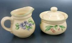 Pfaltzgraff Garden Party Creamer Covered Sugar Bowl Violets