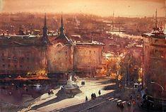 Dusan-djukaric-tramonto-on-Terazije-acquerello-38x56 cm