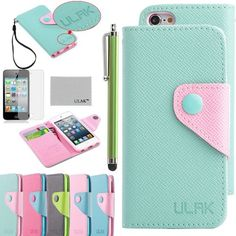 Pandamimi ULAK Mint Green PU Leather Card Holder Wristlet Wallet Type Case Cover For Apple iPod Touch 5th Generation with Stylus and Screen Protector