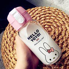 New fashion Korea Portable Glass Simple Cartoon bottle Mug Cup With Lid Bounce Totoro Jingle Cats Cup cute bottle outside office