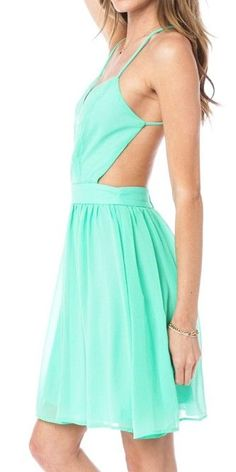 Two trends in one very cute cut out mint dress