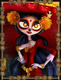 La Muerte is a supporting character in The Book of Life. She first entered the plot of the film when she and her husband Xibalba made a bet concerning which of the mortals, Manolo Sanchez or Joaquín Mondragon would marry Maria Posada. Book Of Life Movie, Live Action, Life Tumblr, Mexican Holiday, Mexican Party, Day Of The Dead Art, Wow Art, Disney And Dreamworks, Illustrations