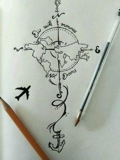 28 Ideas For Travel Drawing Compass Tattoo Designs Trendy Tattoos, Cool Tattoos, Tatoos, Forearm Tattoos, Body Art Tattoos, Female Forearm Tattoo, World Map Tattoos, Tattoo Thigh, Symbol Tattoos