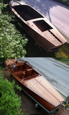 Before and after - a father & son project that started may 2013 and was completed early june It is a 1938 Ess-boat by famous Gideon Forslund, Stockholm, Sweden. When we made the barnfind in 2013 the boat had been stored away for more than Plywood Boat Plans, Wooden Boat Plans, Chris Craft Boats, Duck Boat, Jon Boat, Classic Wooden Boats, Boat Lift, Vintage Boats, Boat Building Plans