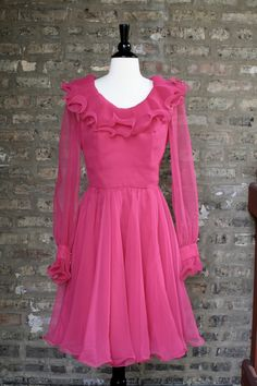 Vintage 60s Miss Elliette Hot Pink Pleated Ruffle Party Dress. $85.00, via Etsy.