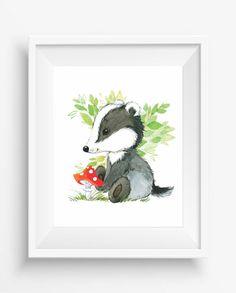 Badger, Cute Badger, watercolor animal illustration, Forest animal,digital…
