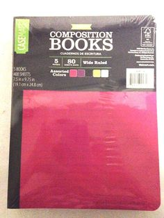 Wide Ruled Composition Notebooks 80 Sheets Poly Cover Asst. Colors 5 Count Set #CaseMate