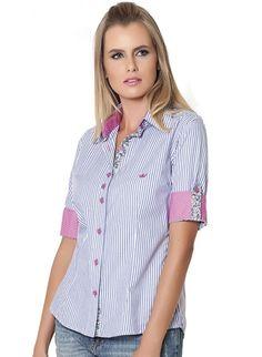 4ff2ec821e 28 melhores imagens de Camisas Sociais Femininas Listradas