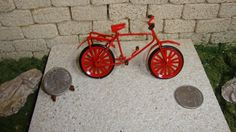 Dollhouse Miniature 1:12 Toys & Games Bicycle Red Metal 3-1/2 inch Long  #F6-10 #Handley