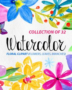 32 Watercolor floral elements