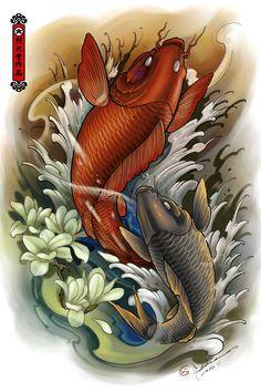 carp Artwork by Hailin Fu www.facebook.com/... Instagram:@Hailin Tattoo