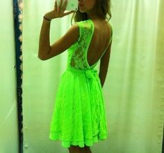 Would love this, but this color makes me look ill. Neon Coral would be PERFECT though. Grad Dresses, 15 Dresses, Pretty Dresses, Beautiful Dresses, Casual Dresses, Fashion Dresses, Neon Green Dresses, Dream Dress, Dress Me Up