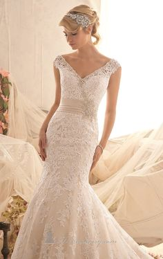 Mori Lee 2608 Dress - MissesDressy.com Venise Lace Net Gown by Bridal by Mori Lee. Banded middle.