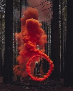 Cicle of smoke orange into forest trees green – Fotos – - Aesthetic Photography Smoke Bomb Photography, Color Photography, Creative Photography, Portrait Photography, Colourful Photography, Fashion Photography, Photography School, Photography Competitions, Professional Photography