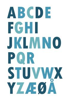 Posters with Norwegian alphabet in different colours and designs. Buy here, you get a printable file.