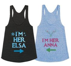 I'm her Elsa ~ I'm her Anna, Frozen tank tops/ T-shirt by My heart has ears. Available in Women's, Men's and Children's sizes as well! In a variety of colors and styles! Elsa: http://skreened.com/myhearthasears/i-m-her-elsa Anna: http://skreened.com/myhearthasears/i-m-her-anna