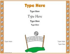 Free Award Certificate Templates - No Registration Required! Volleyball Decorations, Coaching Volleyball, Physical Education, Awards, Certificate Templates, Mad Max, Schools, Sports, House Ideas