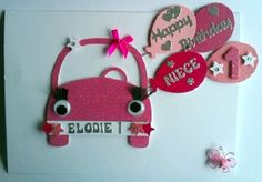 Personalised Girl 1st Birthday Car Card- any age/name/relation - £4.50  #CRAFTfest