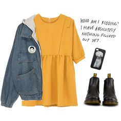 A fashion look from November 2014 featuring smock dress, jean jacket and black booties. Browse and shop related looks.