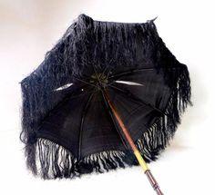 Antique Victorian Ladies Black Silk Folding Parasol Carved Wooden Handle A/F