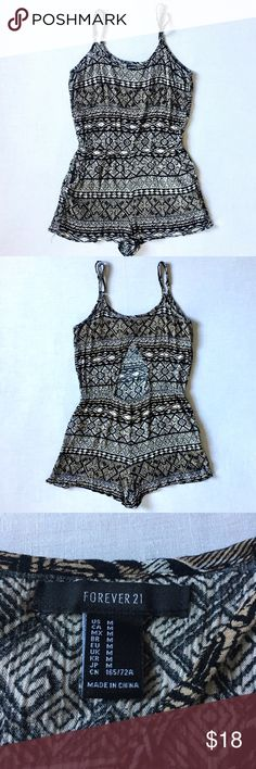 Forever 21 - Tribal Printed Romper Like NEW Tribal printed romper from Forever 21, triangle shaped open back✨ adjustable straps, two front pockets. Labeled size M, can fit both S and M.   • Feel free to offer! Most prices are negotiable • Bundle your items to save! 5% off 2+ • I do not trade • Fast shipping! Same or next day Any questions? Just message me! Forever 21 Other