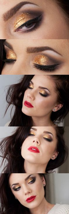 Linda Hallberg; love the shape of the shadow, and the gold eyes and red lips combo.