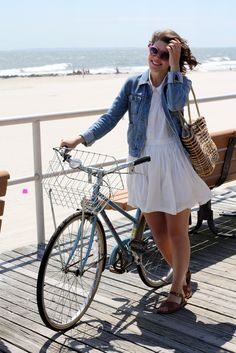 Perfect use of a denim jacket for summer
