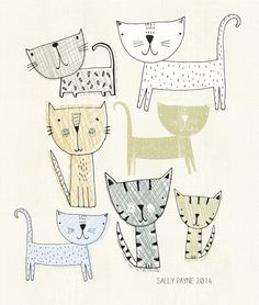 Surface Pattern, Illustration and sketches. Illustrations, Illustration Art, Cat Drawing, Surface Pattern Design, Crazy Cats, Doodle Art, Cat Art, Art For Kids, Art Projects