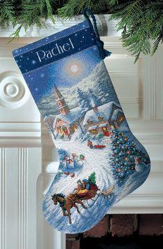 Sleigh Ride at Dusk Cross-Stitch Christmas Stocking Kit
