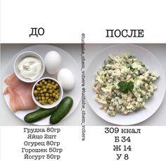 """ПОХУДЕНИЕ▪️РЕЦЕПТЫ ▪️ЖИЗНЬ on Instagram: """"Как вам такой простой и пп вариант #ужин_lchv ? Порция не маленькая, кбжу указано на всю порцию. Грудку обжариваем на сковороде, все режем…"""" Clean Recipes, Diet Recipes, Cooking Recipes, Healthy Recipes, Gourmet Salad, Healthy Snacks, Healthy Eating, True Food, Proper Nutrition"""
