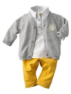 Ensemble 3 pièces pantalon bébé garçon JAUNE - vertbaudet enfant