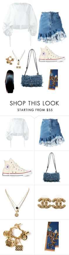 """""""* The scarf is to wrap around the head *"""" by jadebando ❤ liked on Polyvore featuring Delpozo, Marques'Almeida, Converse, Chanel and LowLuv"""
