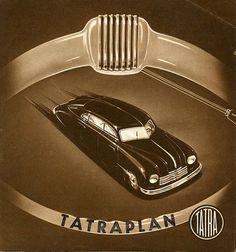 Tatraplan Poster - Rear-engine Tatraplan T600 (1946-1952) was a development of the pre-war T97 model.