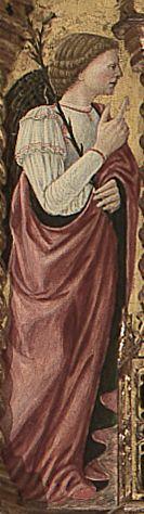 """Giovanni Boccati da Camerino - San Gabriele Arcangelo, dettaglio """"Pala di  Belforte"""" - 1468  - Chiesa di Sant'Eustachio, Belforte del Chienti (Macerata nelle Marche)"""