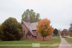 Great photo of the Old Chapel on St. Paul's School campus before a rustic wedding in Concord, NH in October!  Love the fall color... #dreamlovephotography #spswedding #spsoldchapel #nhwedding