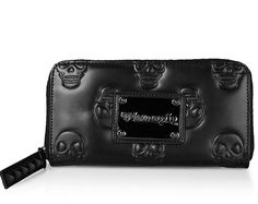 Matte Black Embossed Skull Wallet by Loungefly