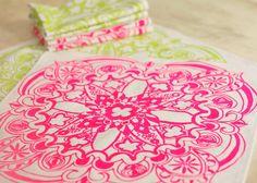 """Linen Cloth Dinner Napkin Set of 6 Modern Green Chartreuse Pink Fluorescent Moroccan Screen Print 16"""""""
