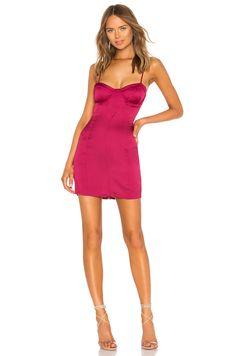 5357830716 For Love & Lemons Isabella Bustier Mini Dress in Fuchsia Formal  Cocktail Dress, Womens
