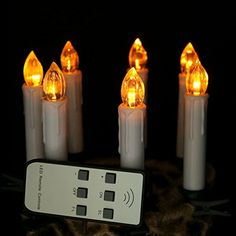 Micandle Set of 10 Yellow Flicker LED Flameless Taper Candles With Remote Control,Battery Operated Candles With Removeable Clips