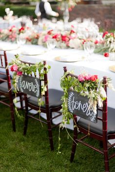 """to have"" + ""to hold"" chair signs in Italian (avere, tenere) via  http://emmalinebride.com/decor/bride-and-groom-chairs/"
