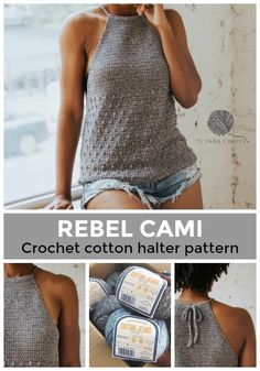Make the Rebel Cami, a sassy but sweet drawstring halter top crochet pattern from TL Yarn Crafts. Challenge your crochet stills with unique shaping and textured stitches. Pattern available in 2 sizes with plenty of photo tutorials and a helpful chart. T-shirt Au Crochet, Pull Crochet, Mode Crochet, Crochet Motifs, Crochet Shirt, Crochet Woman, Crochet Crafts, Yarn Crafts, Crochet Stitches