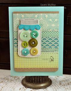 Papertrey Ink button jar card by Dawn McVey