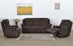 Olivia 3-seater Recliner Couch and 2 Recliners