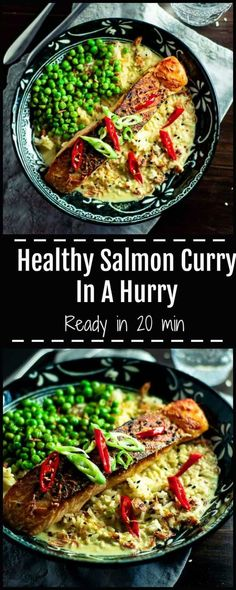 Salmon curry in a hurry is a simple no nonsense dish, perfect for midweek dinners, packed with heart healthy crispy skin salmon, rich creamy curry sauce and crunchy fried shallots, sesame seeds, and sweet juicy green peas. via @https://au.pinterest.com/sugarfreekitc/my-sugar-free-kitchen-on-the-blog/