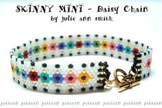 Julie Ann Smith Designs SKINNY MINI SERIES Daisy Chain Bracelet Odd Count Peyote Beadweaving Bracelet Pattern