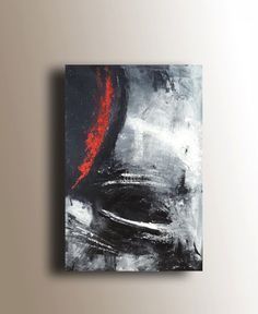 Textured Painting Abstract Painting Black White Red by heatherdaypaintings