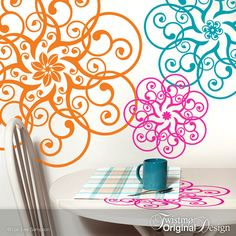 Vinyl Wall Decals: Mandala Lace Doily Art Designs in Pink, Orange, and Blue