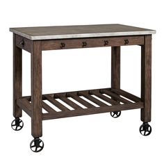 Right2Home Distressed Kitchen Island, Brown Over