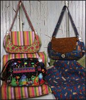 """Haute Mama Diaper bag pattern with 8 pockets and detachable changing pad.  Size is 16""""w x 10""""h x 4.5"""" d.  http://www.kayewood.com/Haute-Mama-Diaper-Bag-Pattern-by-Whistlepig-Creek-Productions-WPC-HAMA.htm  $8.50"""
